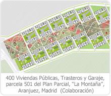 """400 VIVIENDAS PÚBLICAS, TRASTEROS Y GARAJE, PARCELA 501 DEL PLAN PARCIAL """"LA MONTAÑA"""", ARANJUEZ – MADRID."""