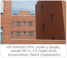 104 VPPA, LOCALES Y GARAJES, PARCELA ME-11, P.P. CIUDAD JARDÍN, ARROYOMOLINOS – MADRID.