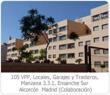 105 VPP, LOCALES, GARAJES Y TRASTEROS, MANZANA 3.3.1, ENSANCHE SUR, ALCORCÓN – MADRID.